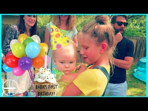Babies FIRST BIRTHDAY PARTY! Birthday gifts, games, wubble bubble ball, kids family fun hopes vlogs