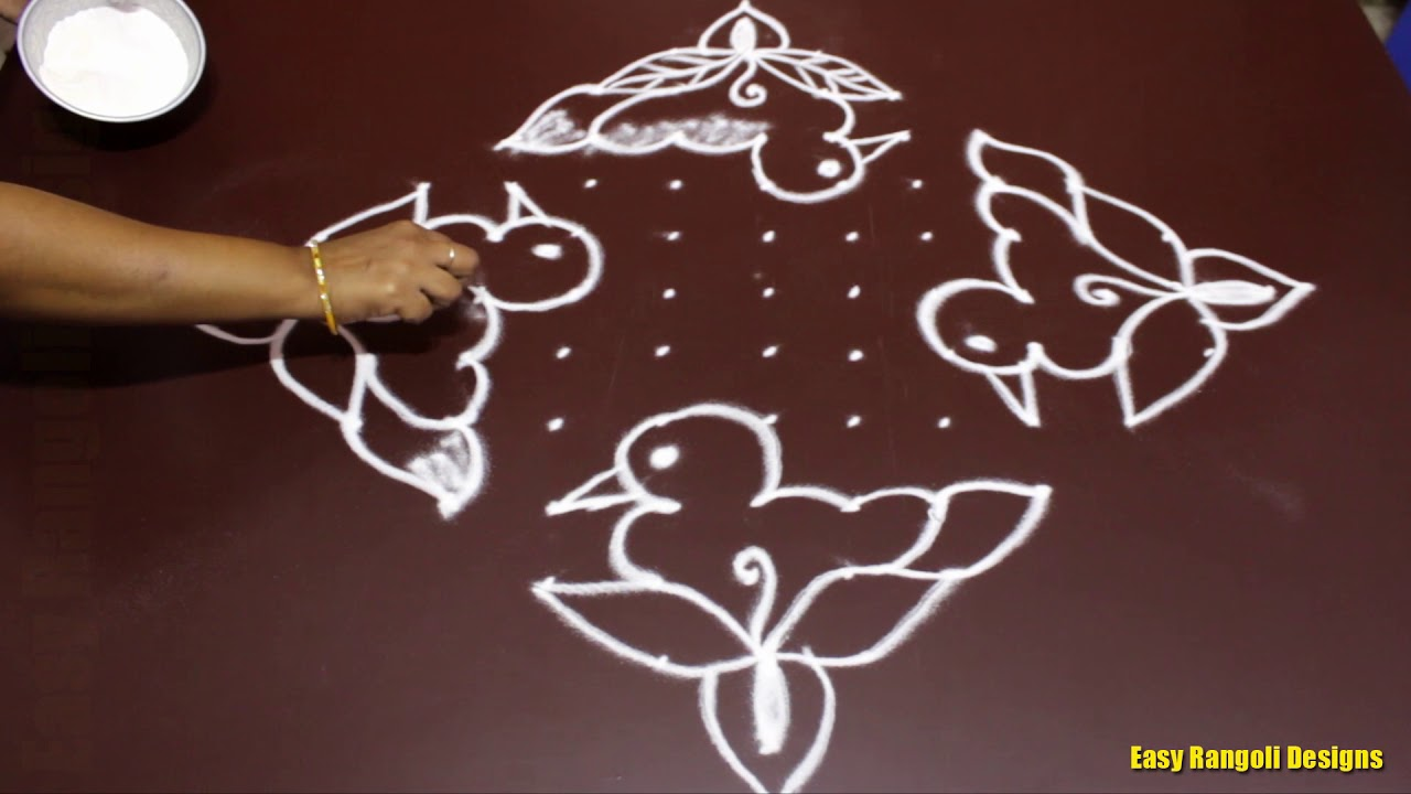 Simple Bird Rangoli Designs With 13 To 1 Dots For Beginners Small