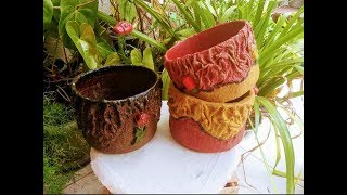 Vasos de tecido e cimento multiuso