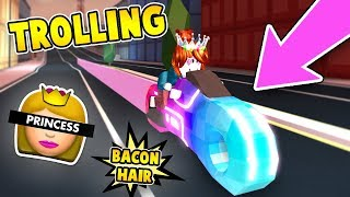 TROLLING AS BACON HAIR PRINCESS 👑 with ROYALE VOLT BIKE in ROBLOX JAILBREAK!!!