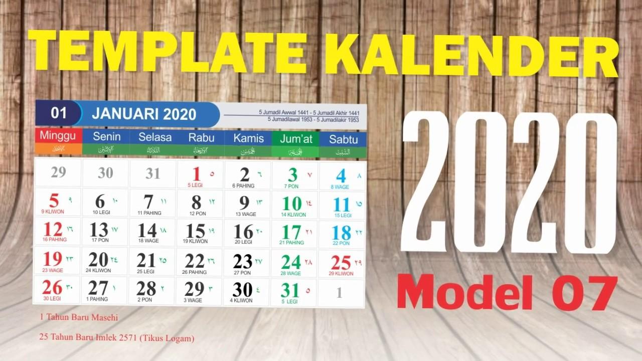 Template Kalender 2020 Lengkap Model 07 - Vektor Coreldraw ...