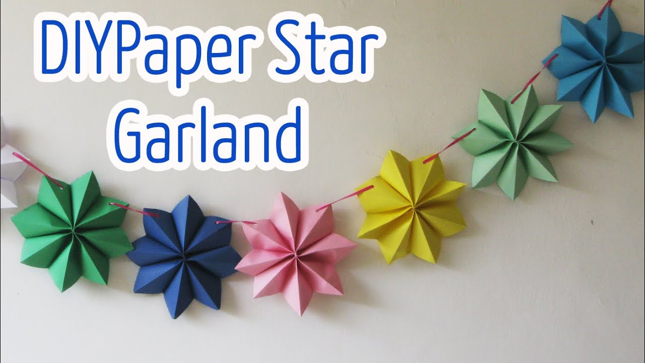garland paper crafts diy star stars newspaper flowers garlands craft christmas easy flower origami decor party decoration step tutorial con