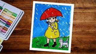 Rainy Season Drawing With Oil Pastel Step By Step -  How To Draw A Girl With Umbrella