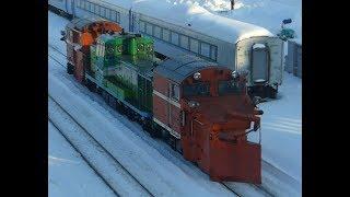 【JR北海道】ノロッコ号塗装のラッセル Snow plow train in Hokkaido Japan.