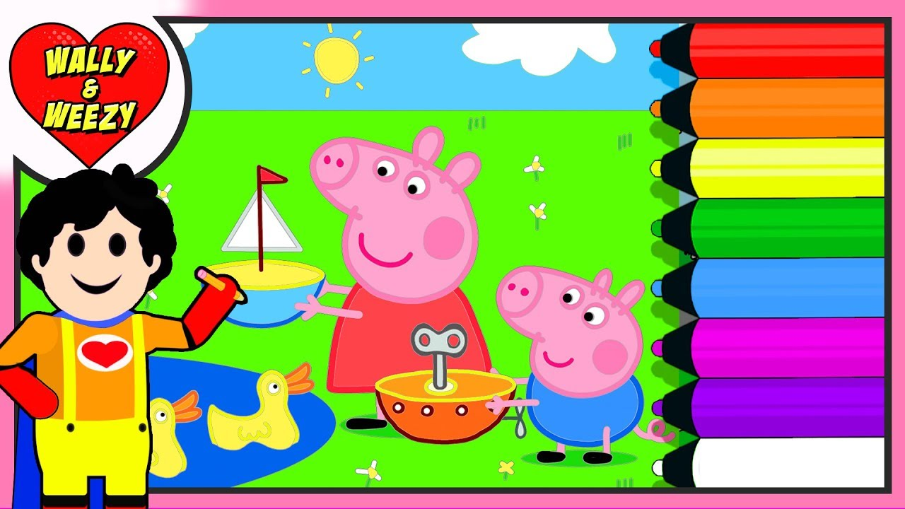 Coloring Peppa Pig and George | Wally and Weezy