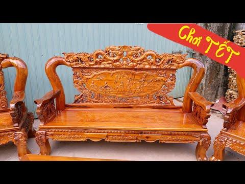 Bộ bàn ghế phòng khách Rẻ và Đẹp nhất Việt Nam / salon gỗ Tràm mẫu Bát Tiên