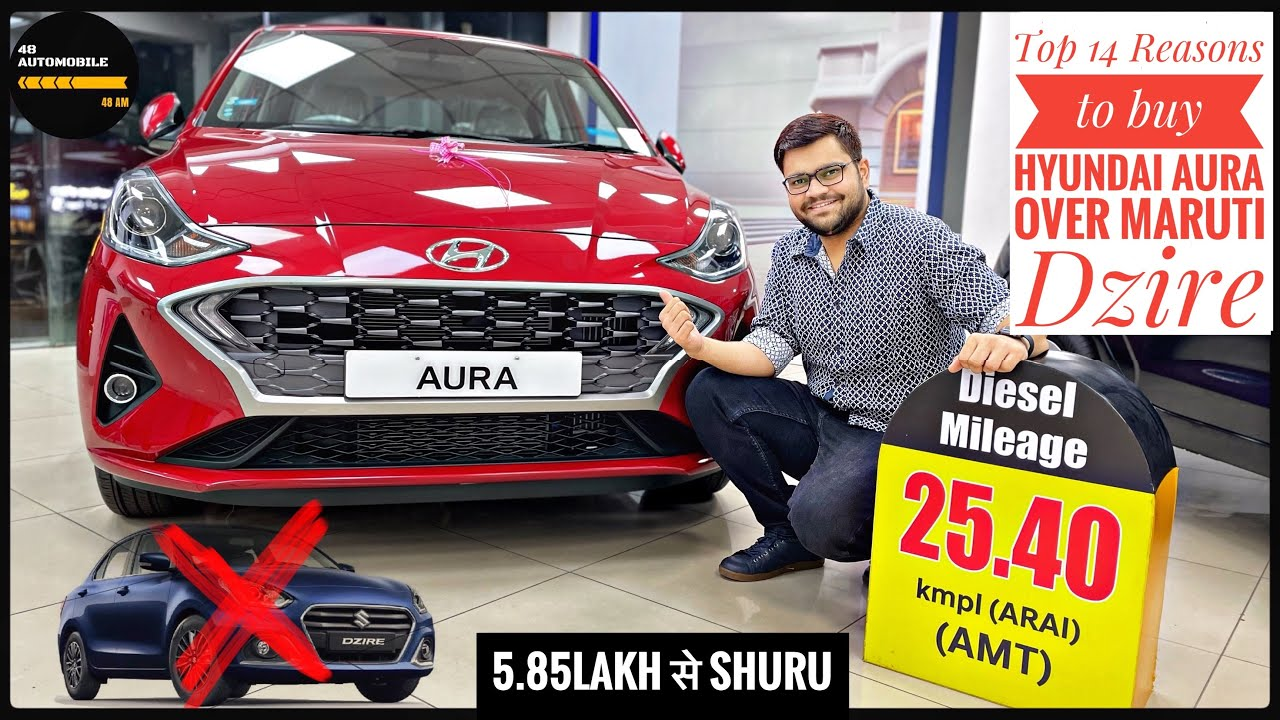 Top 14 Reasons to Buy Hyundai Aura Over Maruti Suzuki Dzire||comparison video हिन्दी में||