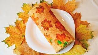 ☂ Осенний рулет // Как приготовить бисквитный рулет. Кулинарный креатив