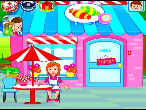 Ходим по Магазинам Супермаркет Бутик Конфетная Лавка игровой мультфильм My Town Stores