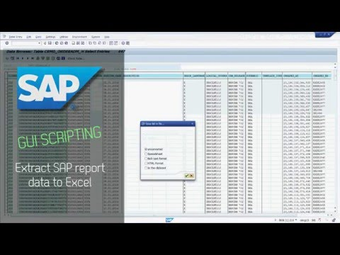 SAP GUI Scripting - Extract SAP report data to Excel - YouTube