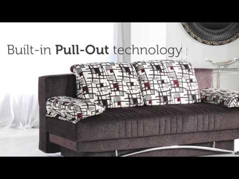 FANTASY ARISTO Three Seat Sofa Sleeper With Storage In Brown
