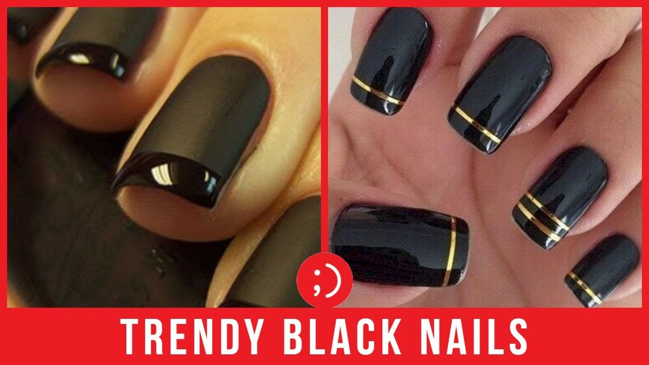 Black Nails Manicure Compilation , Best New Nail Art Designs