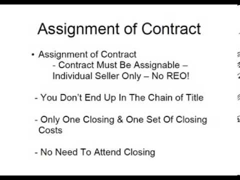 Assignment Of Contract  How To Assign Contracts  Youtube
