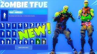 NEW! ZOMBIE TFUE SKIN With 50+ Dance Emotes SHOWCASE! (Brainiac) Fortnite Battle Royale