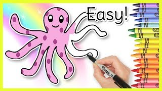 How to Draw an OCTOPUS! Kids Learning Videos