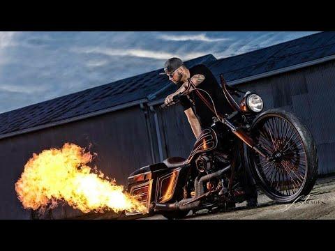 "SICK HARLEY FLAME THROWER on a 30"" Custom Bagger"