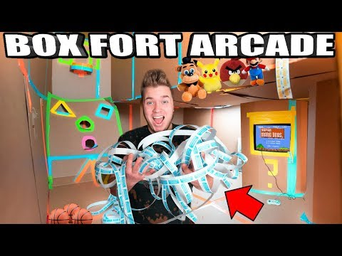 BOX FORT ARCADE!!  Won All The Tickets - Basketball, Skee Ball, Foosball & More