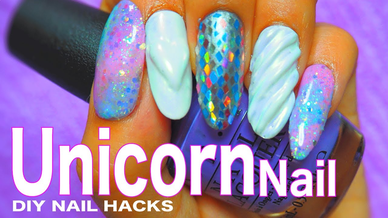 DIY unicorn nail By gel nails