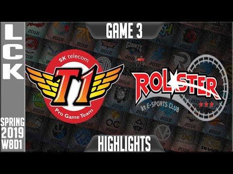 SKT vs KT Highlights Game 3 | LCK Spring 2019 Week 8 Day 1 | SKT Telecom T1 vs KT Rolster 3