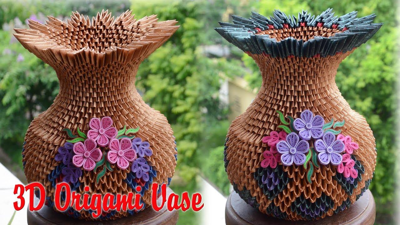 3d Origami Vase V1 Paper Flower Vase Handmade Decoration Youtube