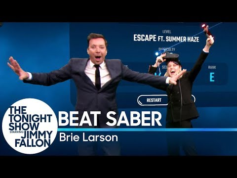 Watch Brie Larson and Jimmy Fallon Face Off in a Fierce Game of Beat Saber