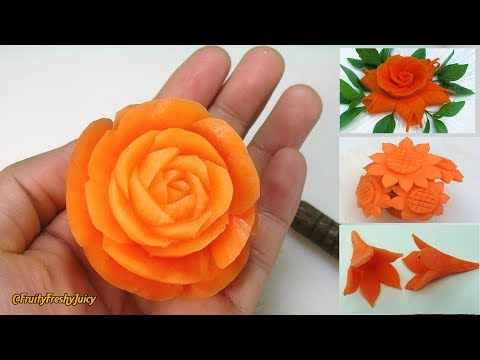 Thumbnail: 4 Beautiful Carrot Flower Garnishes | Salad & Food Designs for Hotel & Restaurant