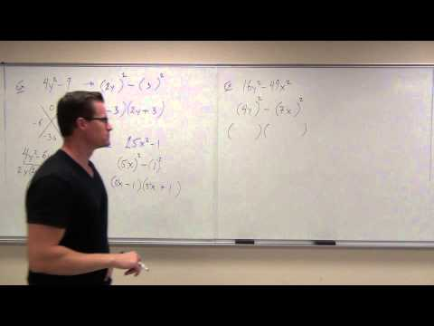 Intermediate Algebra Lecture 6.5:  Factoring Binomials (Difference of Squares/Cubes)