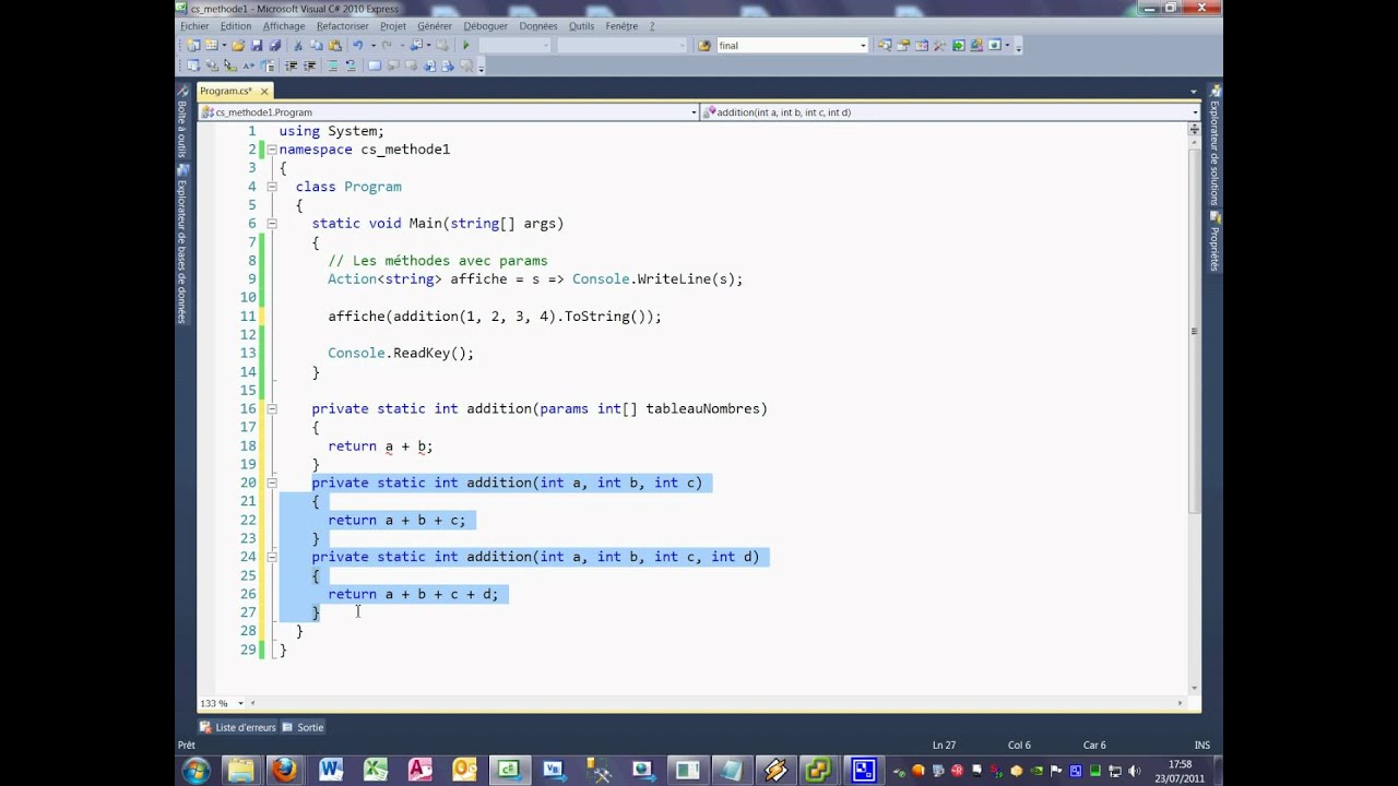 Tutoriel 22 méthode 3 en C# en français troisième partie