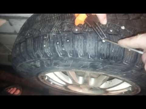 Ошиповка шин в гаражных условиях,без спец инструмента.