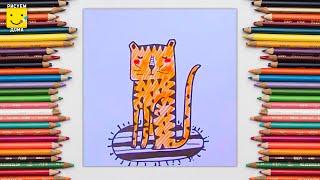 Как нарисовать тигра фломастерами - урок рисования для детей от 4 лет, рисуем дома поэтапно(Дети рисуют пошагово, тигр, сказка. Подписывайся на Мир Дизайна - https://vk.com/design_is Получи порцию вдохновения., 2016-12-17T11:44:49.000Z)