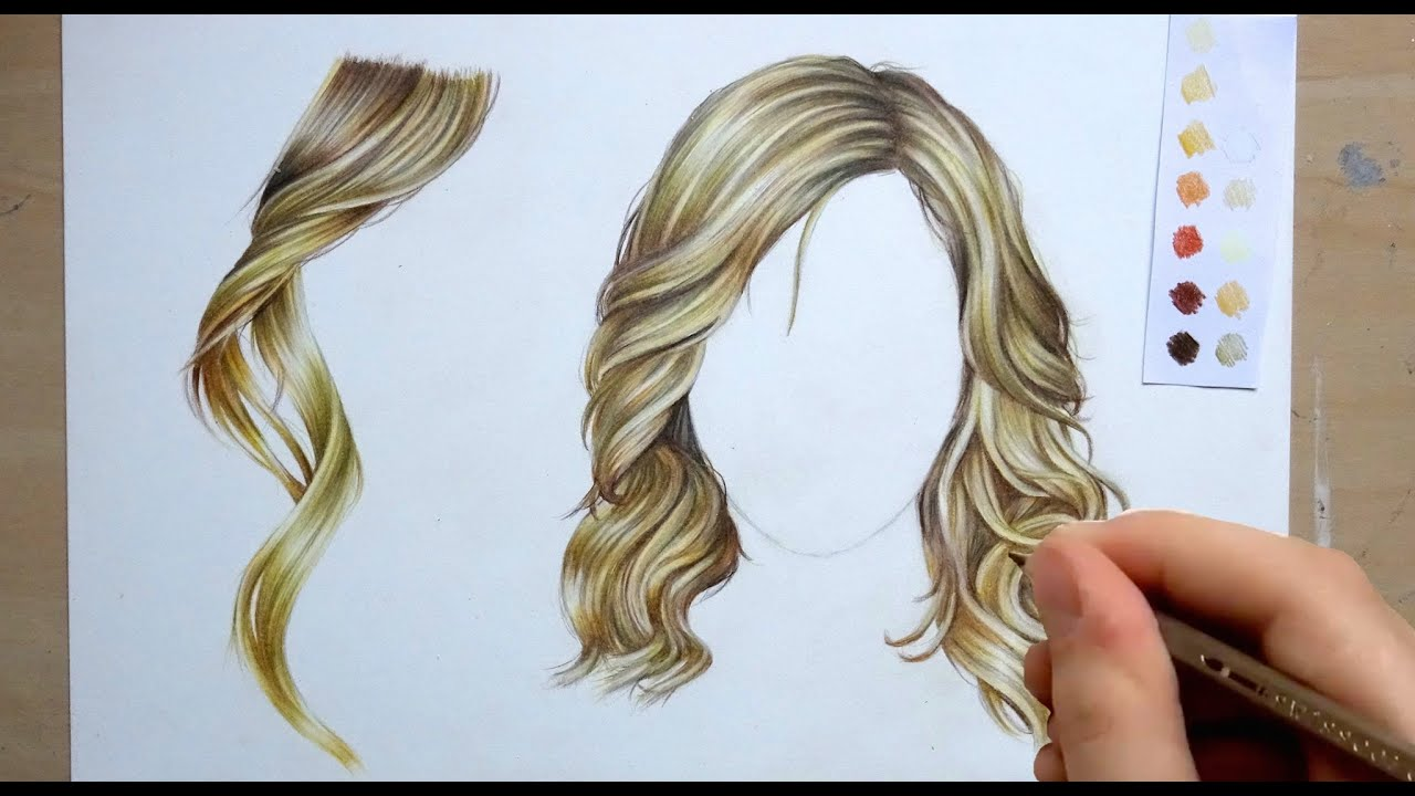 how to draw and colour hair pencil tutorial youtube