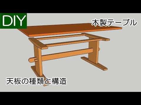 テーブルの天板の作り方を種類と構造別にご紹介しています