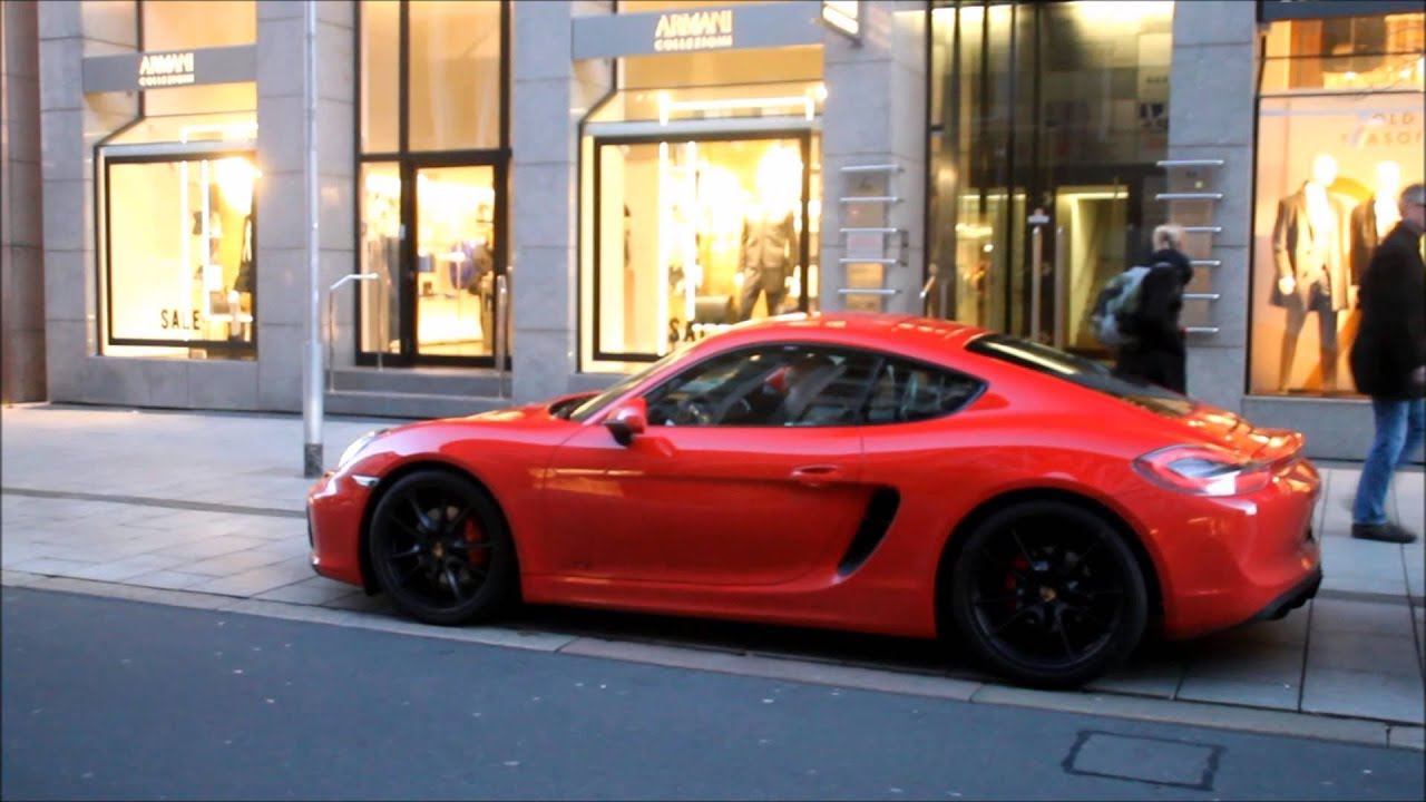 new porsche cayman gts start up and accelerating sound in hannover youtube