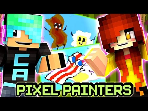 Pixel Painters with Gamer Chad - Happy Piggy Food?!?! - Minecraft Hypixel Minigame