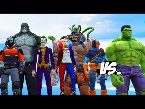 THE HULK VS BATMAN ENEMIES - JOKER, HARLEY QUINN, DEADSHOT, DEATHSTROKE, BANE, KILLER CROC VS HULK