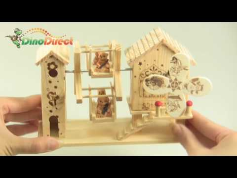 Lovely Wooden House Style Music Box - dinodirect