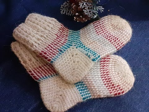 Носки тунисским вязанием с удобной практичной пяткой