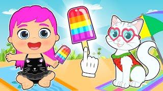 LILY AND KIRA 🍨🌈 Make Rainbow Ice Cream in the Beach