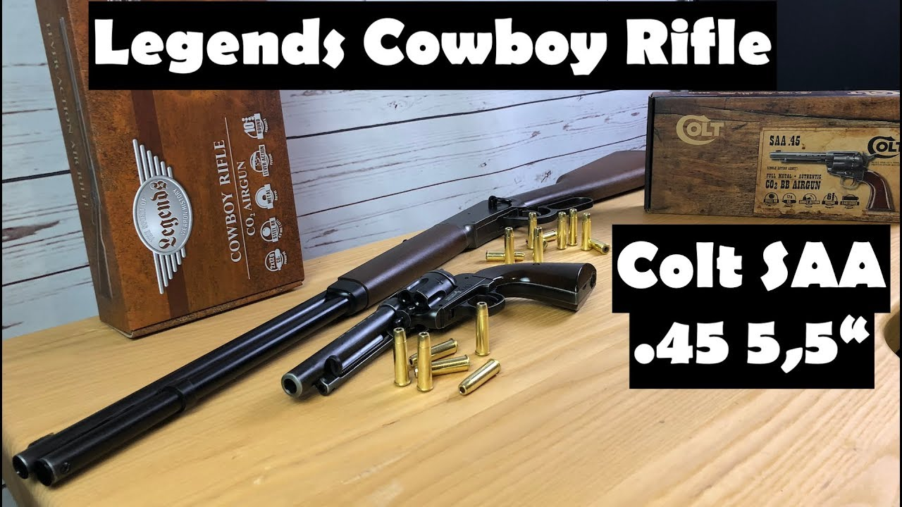 "Umarex Legends Cowboy Rifle and Umarex SAA  45 5,5"" Colt - Full Review and  shooting"