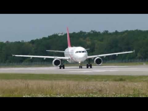 Air Arabia A320 landing & take-off @ BSL - 30/6/2012