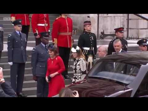 Arrival of Senior Members of the Royal Family - Queen's 90th Birthday Service of Thanksgiving.
