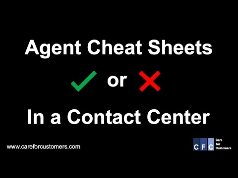 Call Center Management - Agent Cheat Sheets - good or bad in the Call Center?