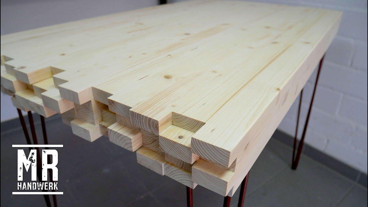 2 2 designer tisch aus dachlatten selber bauen einfach genial youtube. Black Bedroom Furniture Sets. Home Design Ideas