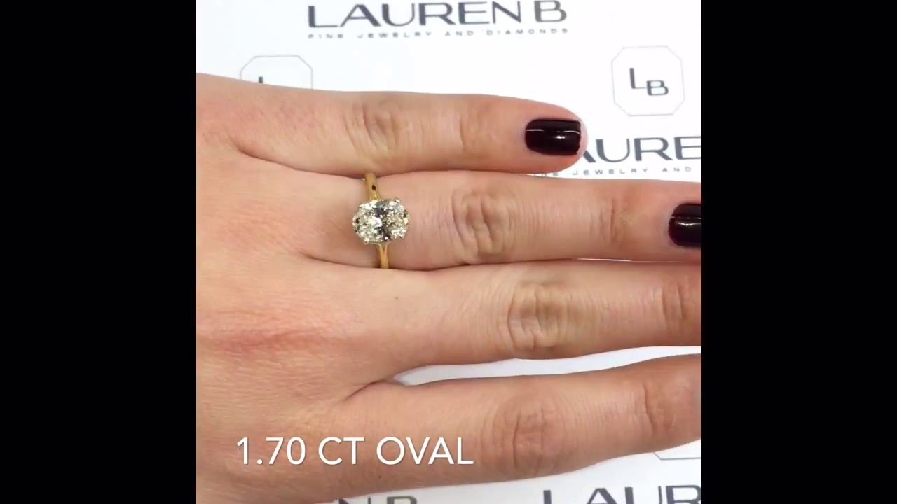 170 Ct Oval Diamond Engagement Ring In Yellow Gold