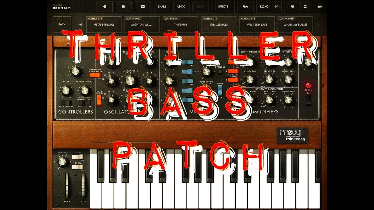 MINIMOOG MODEL D - Let's Make A THRILLER Style Bass Patch - iPad Tutorial