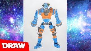 How to draw robot Axelrod, Real Steel, Как нарисовать робота Аксельрод, Живая Сталь