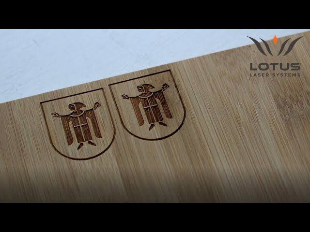 Lotus Laser Systems Meta CO2 laser engraving bamboo
