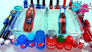 Mezclando Slime de Coca Cola VS Pepsi (rojo y azul) - Supermanualidades