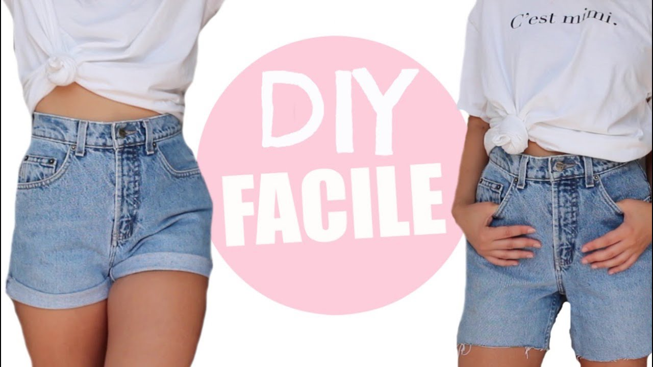 Couper un jean en short astuce friperie diy facile youtube - Comment couper un pantalon en short ...