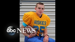 Teen with brain cancer takes field as junior high school football players